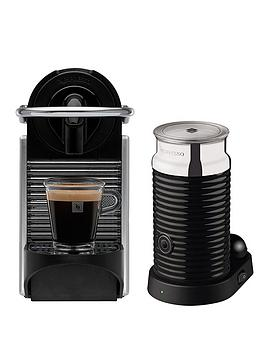 Nespresso Pixie Coffee Machine By Magimix With Aeroccino 3 Milk Frother  Aluminium