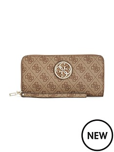 guess-guess-katlin-zip-around-purse-brown