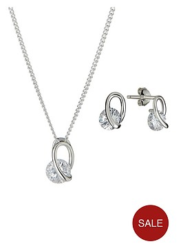 the-love-silver-collection-sterling-silver-white-cubic-zircona-swirl-pendant-and-earrings-set