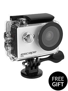 kitvision-escape-hd5-action-camera-white-with-free-accessory-floating-grip-for-underwater-use