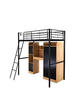 Kidspace Ohio High Sleeper With Desk Wardrobe Storage And Optional Mattress  Sleeper With Storage Plus Premium Mattress