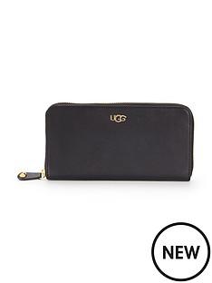ugg-australia-rae-leather-zip-around-purse-black