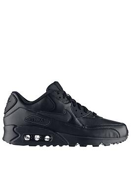 best sneakers 85b77 17b9f Nike Air Max 90 Leather Trainers - Black Black   littlewoods.com