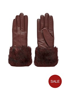 ted-baker-faux-fur-trim-leather-gloves-oxblood