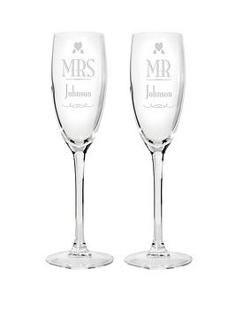 Very Personalised Mr & Mrs Champagne Flutes Picture