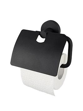 aqualux-haceka-kosmos-toilet-roll-holder-with-lid-black