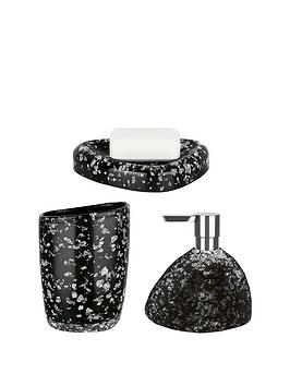 Spirella Etna Set Of 3 Glitter Black Bathroom Accessories | Littlewoods.com