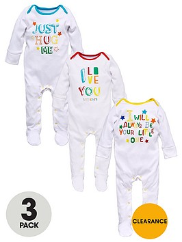 ladybird-baby-unisex-slogan-value-sleepsuits-3-pack