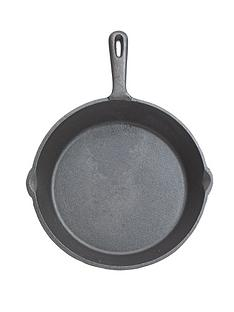 kitchencraft-24-cm-deluxe-cast-iron-round-plain-grill-pan