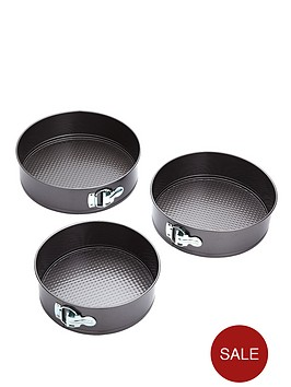 kitchencraft-3-piece-non-stick-spring-form-cake-tin-set
