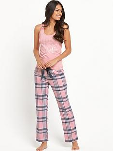 lipsy-baby-pink-vest-and-check-trouser-set