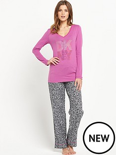 dkny-pink-top-and-animal-print-set