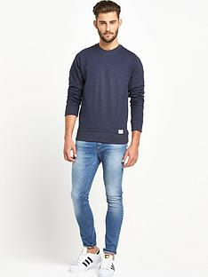 goodsouls-goodsouls-navy-marl-ribbed-raglan-sleeve-sweatshirt