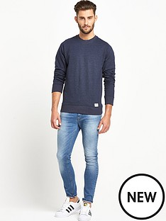 goodsouls-navy-marl-ribbed-raglan-sleeve-sweatshirt