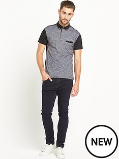goodsouls-black-fashion-textured-contrast-collar-polo-top