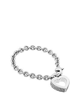 Lola And Grace Rhodium Plated Crystal Heart Rim Chain Bracelet Made With Swarovski Elements
