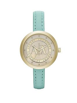armani-exchange-mop-dial-and-green-leather-strap-ladies-watch