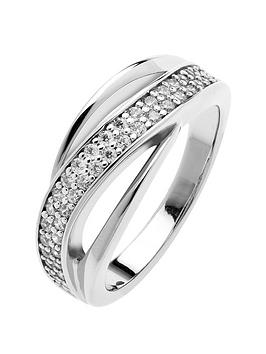 The Love Silver Collection RhodiumPlated Sterling Silver Twisted Triple Band Cubic Zirconia Ring