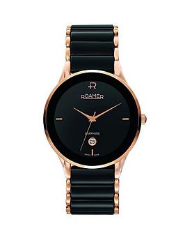 roamer-swiss-made-ceraline-saphira-black-ceramic-and-rose-gold-bracelet-mens-watch
