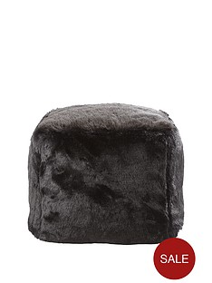 faux-fur-cube-seat-ndash-black