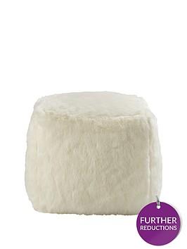 faux-fur-cube-seat-ndash-white