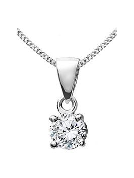 Love DIAMOND Love Diamond 9Ct White Gold 25 Point Diamond Solitaire Pendant Picture