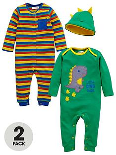 ladybird-baby-boys-dino-dude-romper-suits-and-hat-set-3-piece