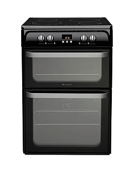 Hotpoint Ultima Hui614K 60Cm Double Oven Electric Cooker With Induction Hob  Black