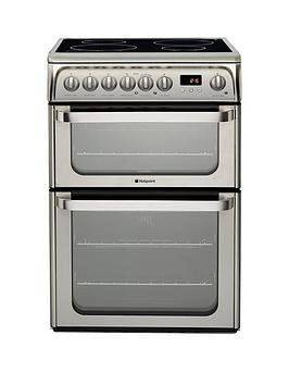 Hotpoint Ultima Hui611X 60Cm Double Oven Electric Cooker With Induction Hob  Stainless Steel
