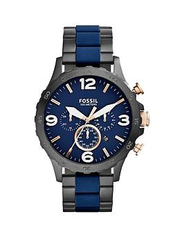 Fossil Nate Navy And Black Ip Bracelet Mens Watch