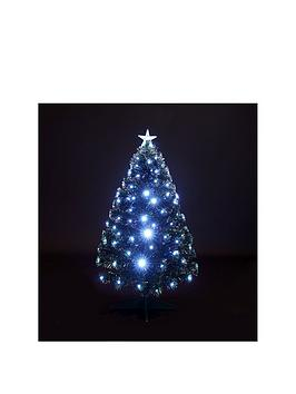 Fibre Optic Christmas Tree With White Leds  4Ft