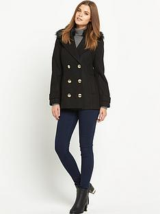 south-faux-fur-collar-reefer-jacketnbsp