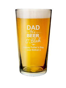 Very Personalised Dad It'S Beer O Clock Pint Glass Picture