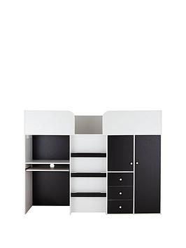 Product photograph showing Miami Fresh Midsleeper Bed With Desk Drawers Cupboards And Mattress Options Buy And Save - Mid Sleeper With Standard Mattress