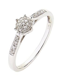 Love DIAMOND Love Diamond 9 Carat White Gold 10 Point Diamond Cluster Ring  ... Picture
