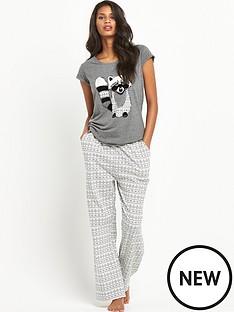 sorbet-racoonampnbspflocked-pyjamas