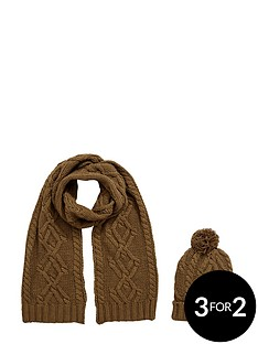 mens-2pc-chunky-knit-hat-and-scarf-set-khaki