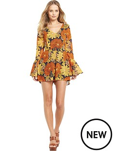definitions-floral-print-fluted-sleeve-playsuit
