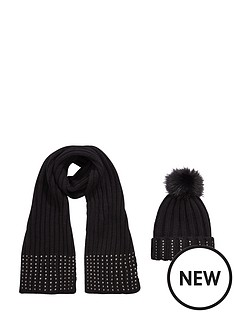 girls-2-pack-embellished-pom-pom-hat-and-scarf-set