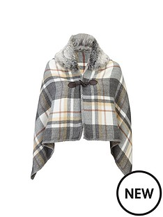 girls-faux-fur-trim-grey-checked-cape