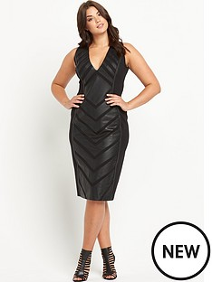 forever-unique-curve-roz-pu-panelled-midi-dress