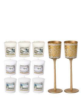 yankee-candle-golden-stemmed-celebration-votive-holder-with-9-votives