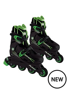 wired-flash-adjustable-inline-skates-13-3-green