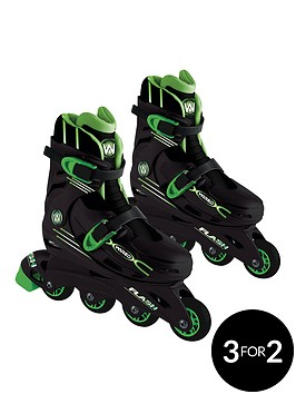 wired-flash-adjustable-inline-skates-13-3-green