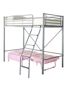Montana High Sleeper With Futon Single Bed And Optional Mattress  Bunk Frame Futon And Premium Mattress