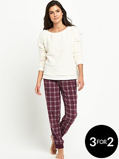 definitions-fleece-top-and-checked-cuffed-pants-set