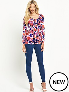 south-south-printed-long-sleeved-pleat-front-jersey-top