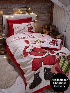 Catherine Lansfield Retro Santa Christmas Duvet Cover Set Littlewoods