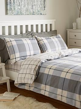 Compare retail prices of 100% Brushed Cotton Check Duvet Cover Set to get the best deal online