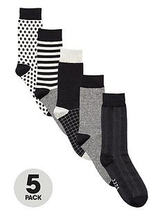 jack-jones-monochrome-mens-socks-5-pack